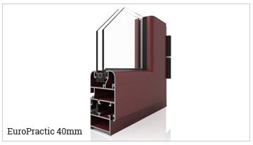 ventana y puerta practicable oscilobatiente serie EuroPractic40. serie fría.