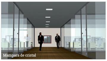 división de oficina, mampara de cristal